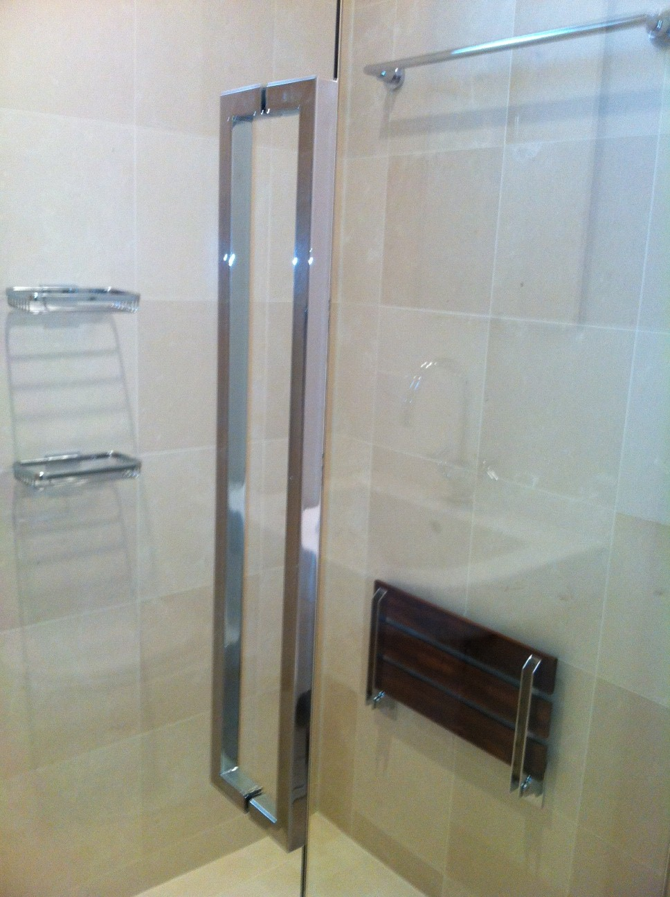 38u2033 shower door with crl hardware and a modern back to back 24u2033 square tubular pull