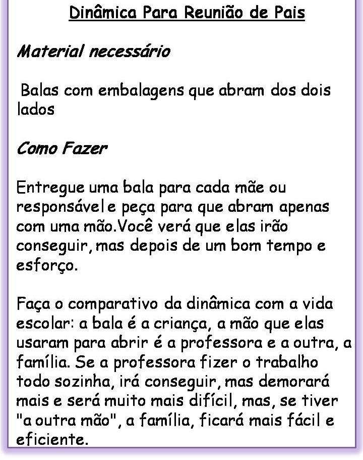 Fabuloso A ARTE EM EDUCAR !: Dinâmica Para Reunião de Pais. KR97