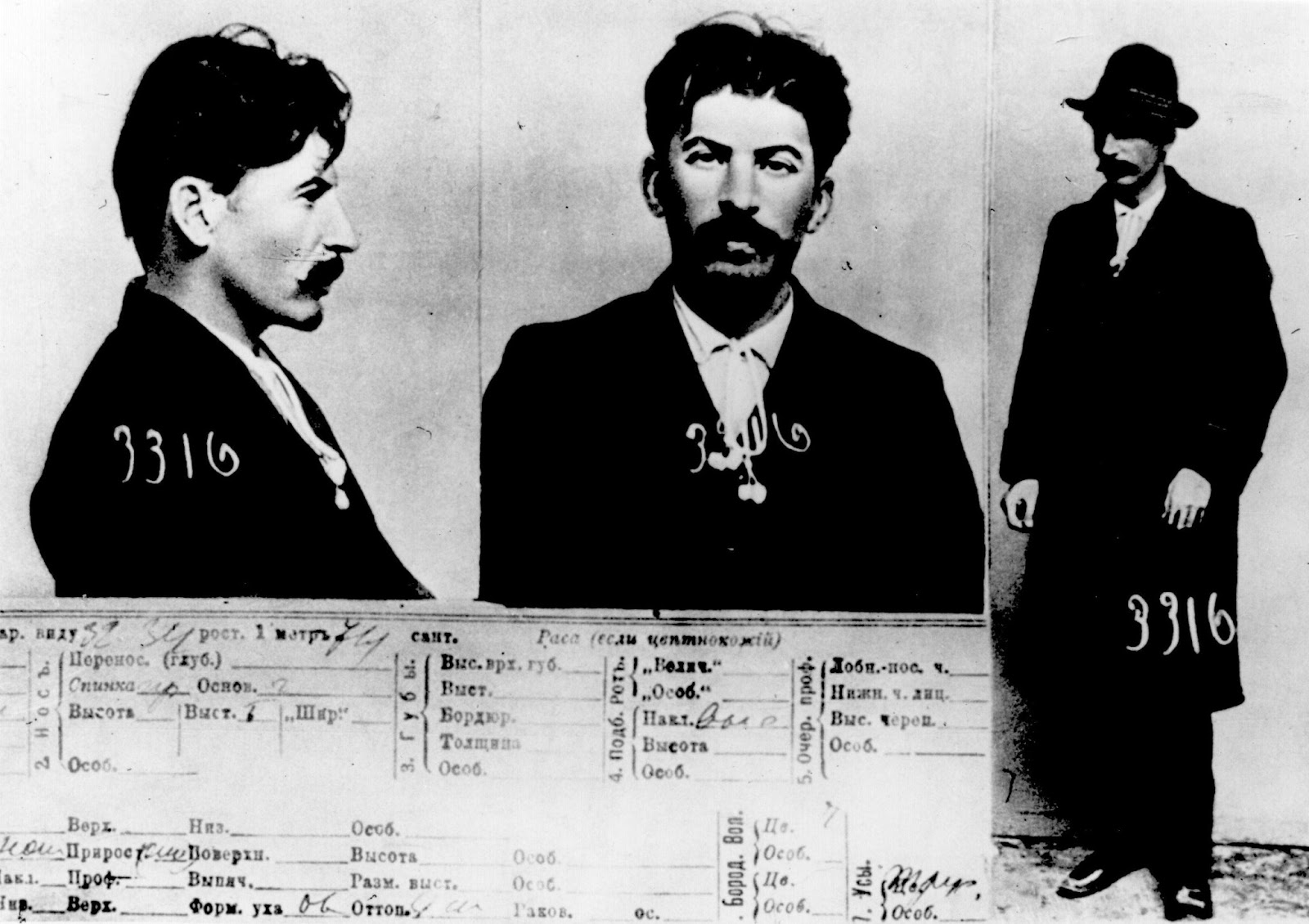 Mugshot of Joseph Stalin held by Okhrana: the Tsarist Secret Police, 1911