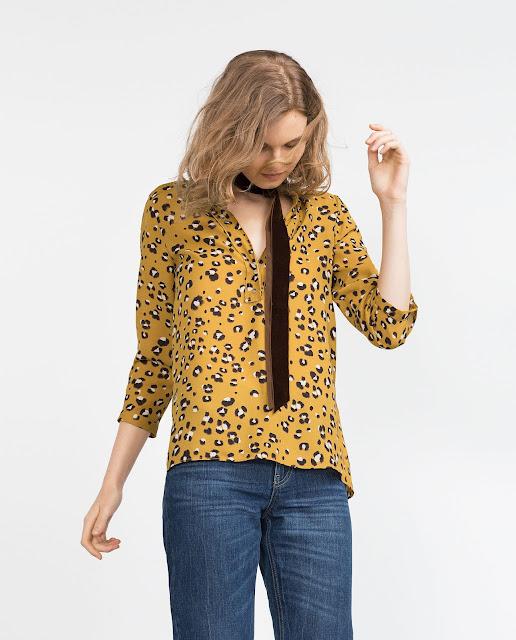 zara mustard blouse, zara mustard top, mustard leopard print top,