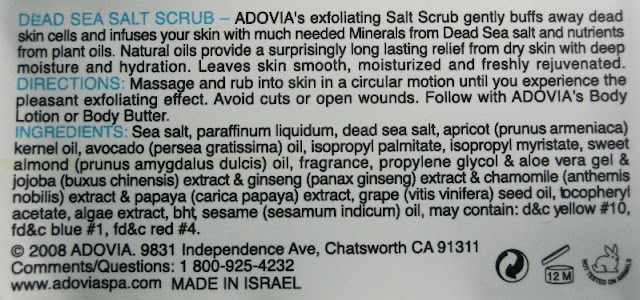 Adovia Dead Sea Salt Scrub directions and ingredients