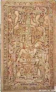 Lápida del sarcófago del rey Pakal. En esta se narra la vida del dirigente maya