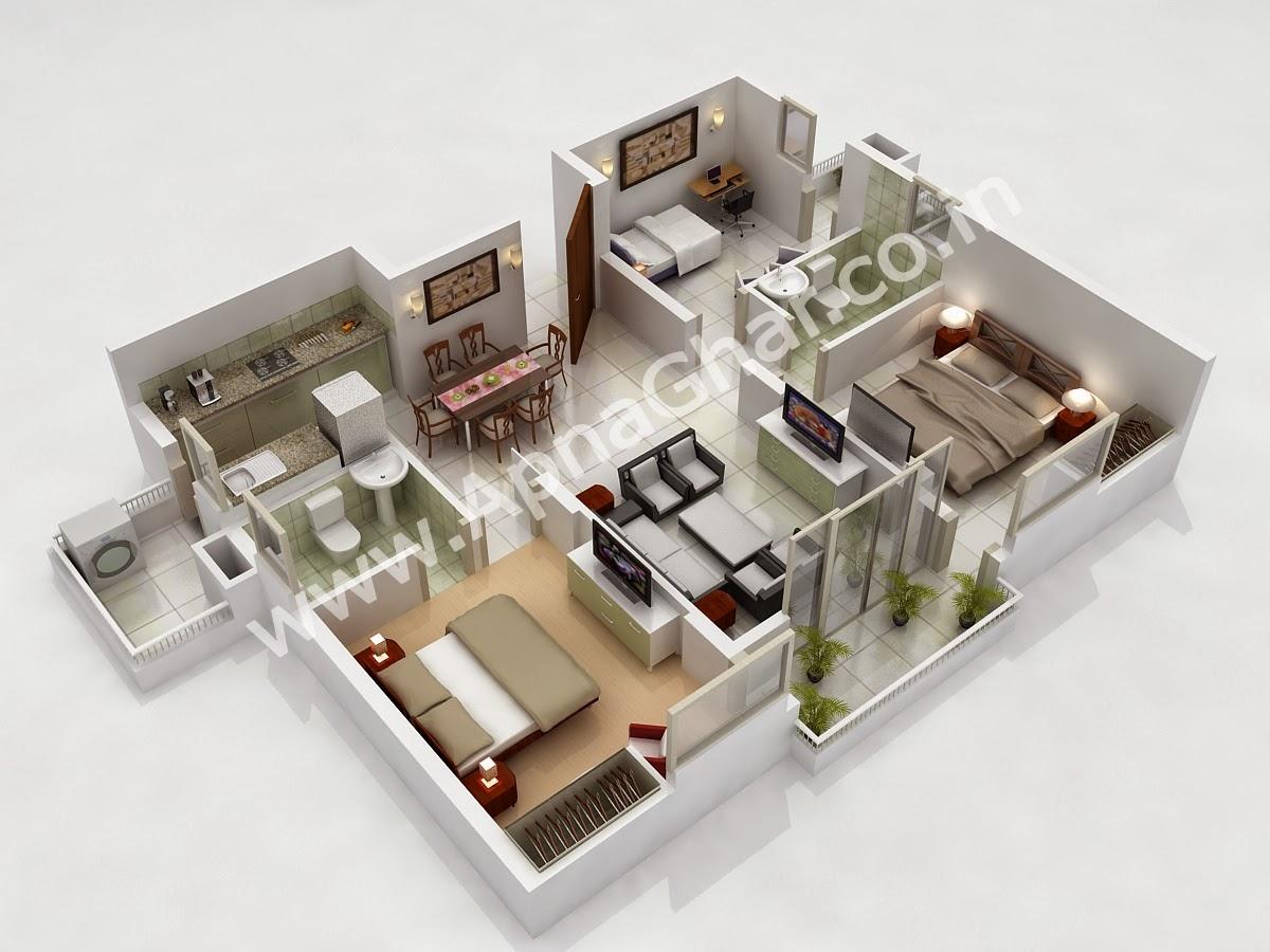 3D Floor Plans 2 Story House