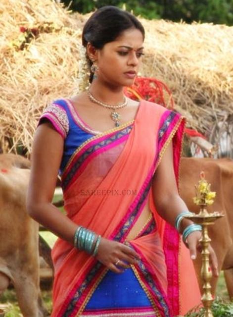 Bindu-madhavi-transparent-half-saree-Desingu-Raja-tamil-movie