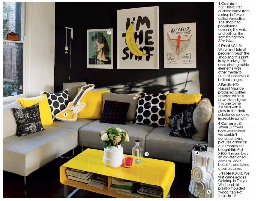 Black Grey Yellow Living Room 900 x 670