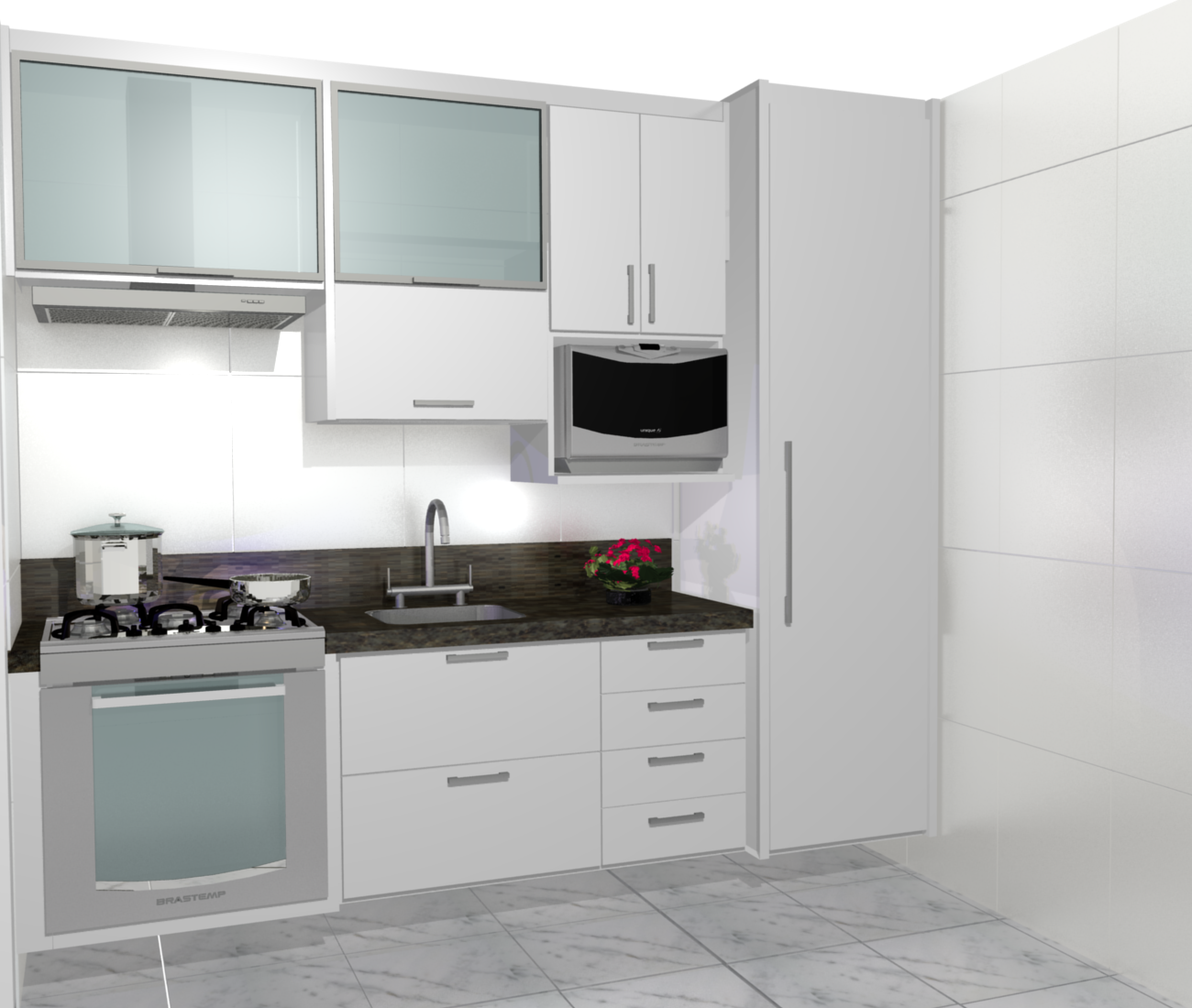 cozinhas planejadas simples bonita pequenas de luxo projeto branca #633F42 1300 1100