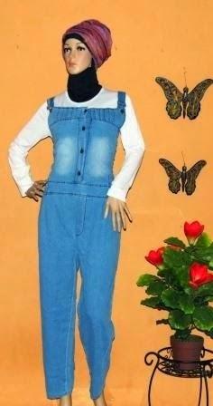 Jumpsuit Overall Jeans Kerut Pinggang GJ1065