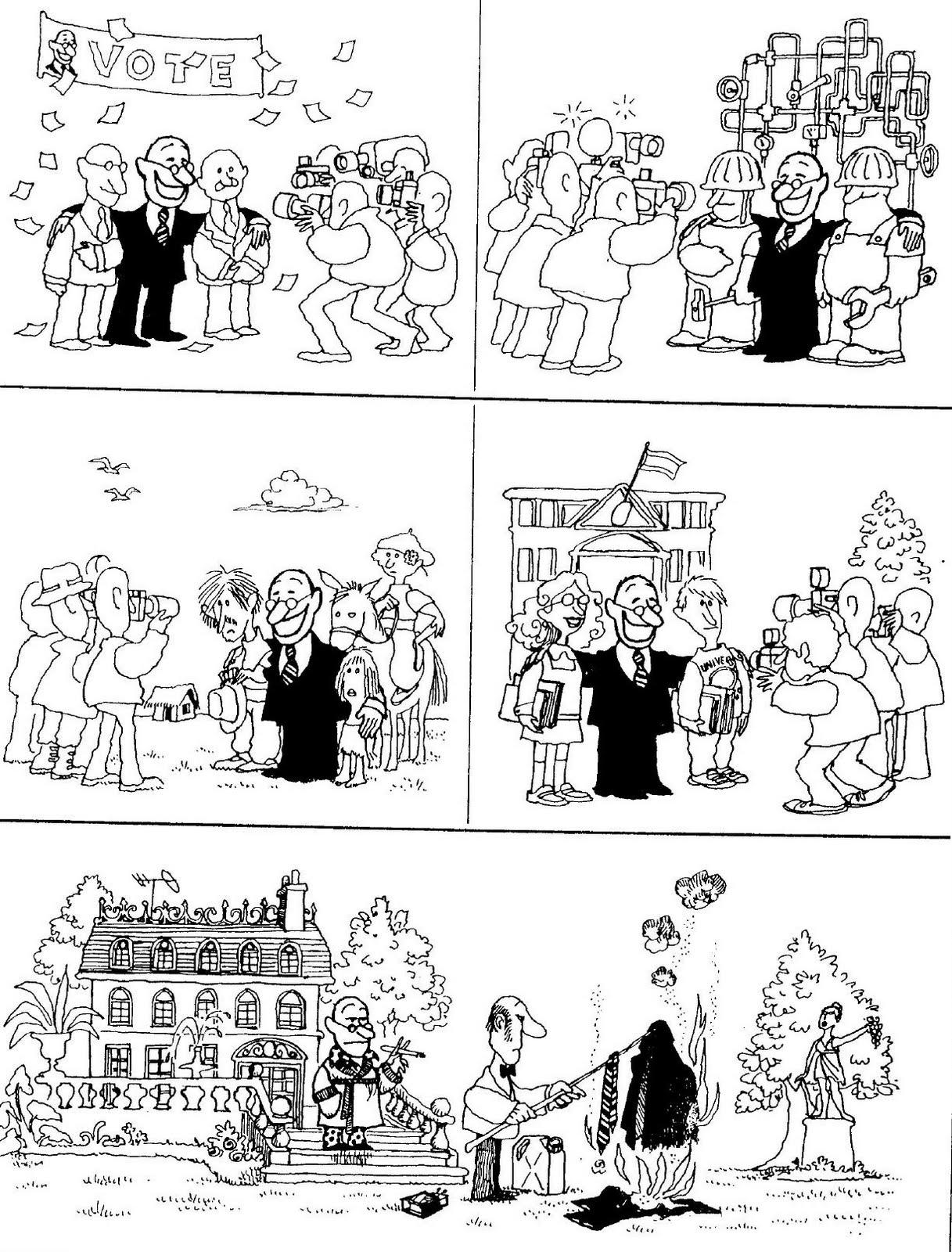 Quino, historieta muda, político en elecciones