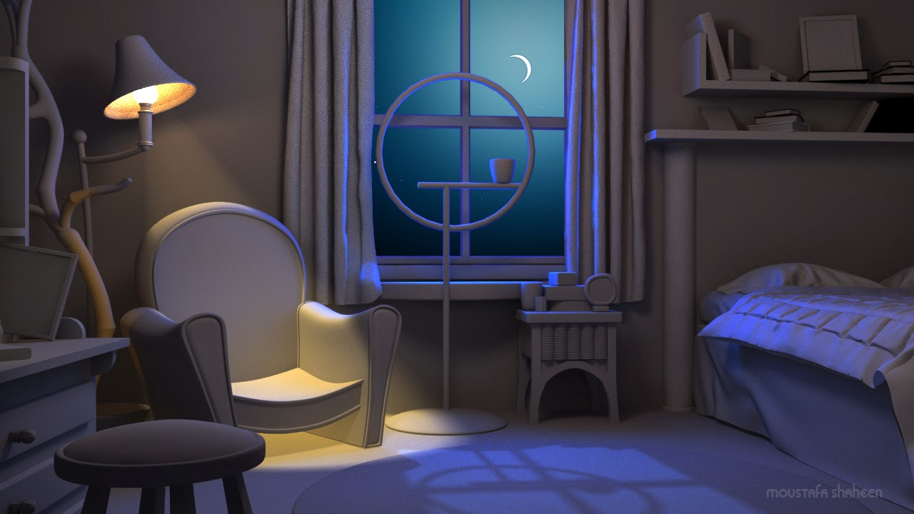 Night lighting scene in 3ds max