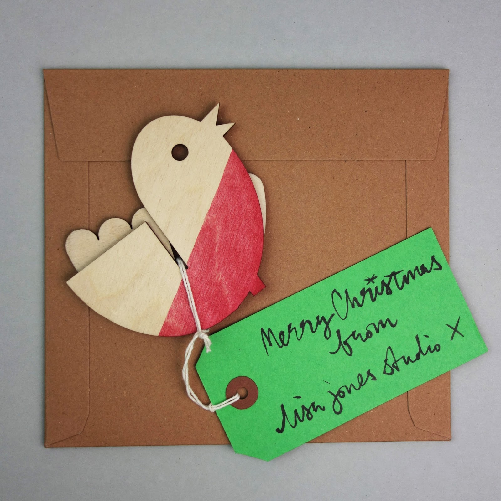 Plywood Christmas robin maquette 2014, package