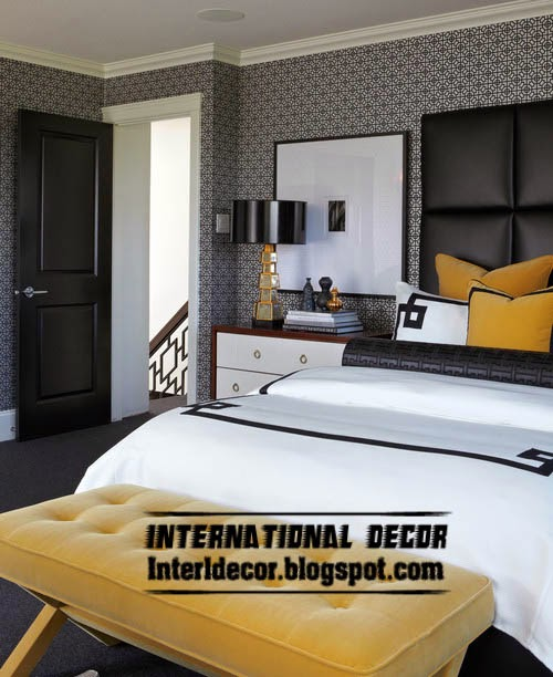 Black and white wallpaper for bedroom interior