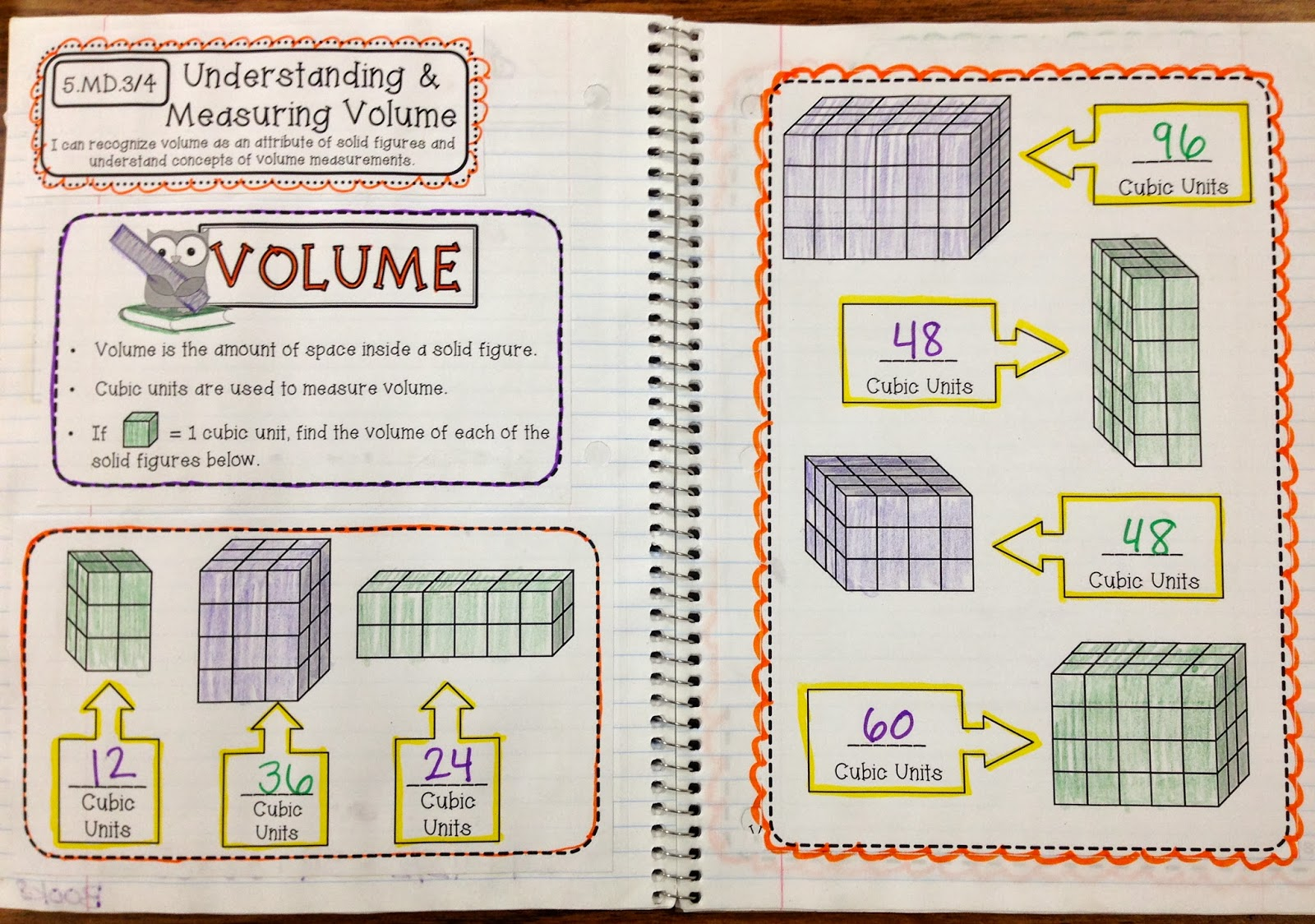 5th Grade Interactive Math Notebooks for Measurement & Data and ...
