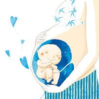 Ilustração de bebê no útero materno emanando corações azuis.