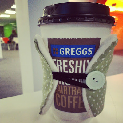 Greggs coffee cup cosie