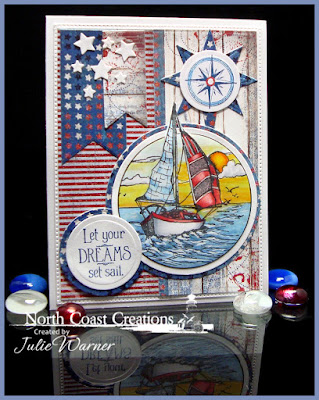 North Coast Creations Stamp sets: Sail Away, Our Daily Bread Designs Stamp sets:  Smooth Sailing, ODBD Patriotic Paper Collection, ODBD Custom Dies: Circle Ornament, Matting Circles, Pennants, Splendorous Stars, Sparkling Stars