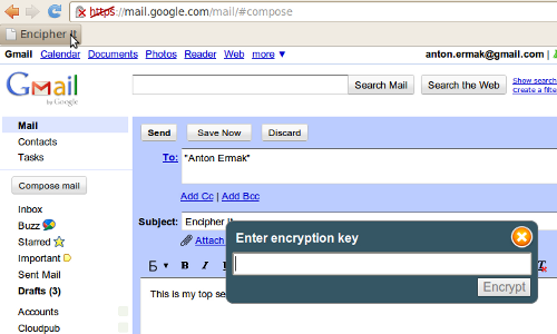 step2 Encrypt Gmail, Facebook dan Text pesan