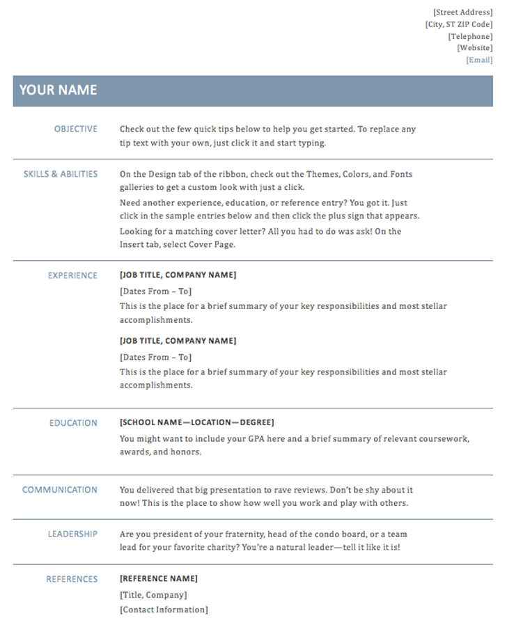 simple resume template light blue color theme - Resume Template Color