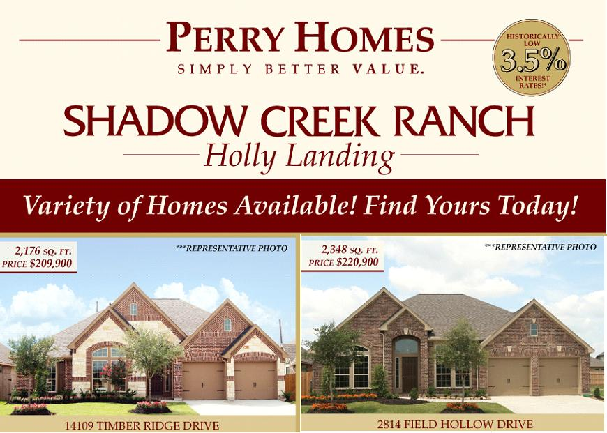 New Construction Homes for Sale In Pearland: Perry Homes Shadow Creek