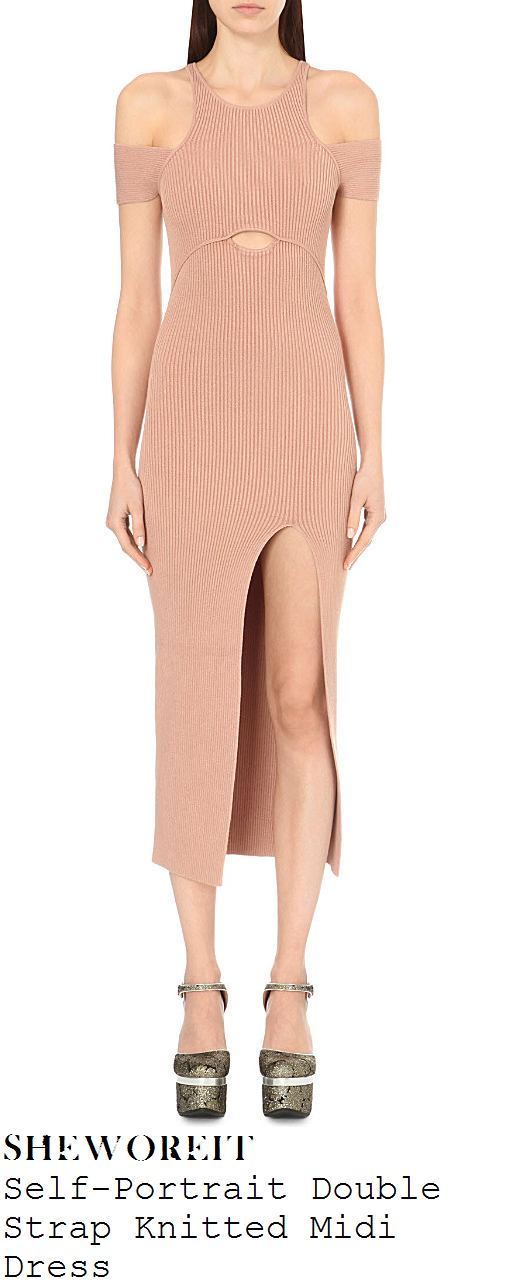 lauren-pope-nude-cold-shoulder-knit-midi-dress