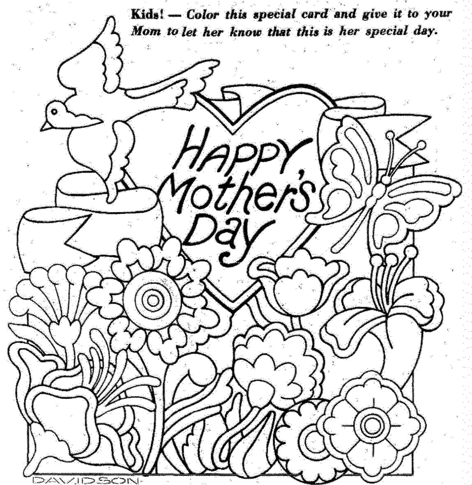 Mothers day coloring sheets cards - Color This Special Card 1975 Mostly Paper Dolls Kids Color This Special Card 1975 Get Well Soon Mom Coloring Pages