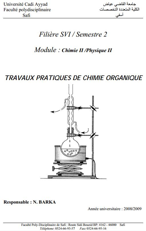 les Travaux pratiques de chimie organique svt s2