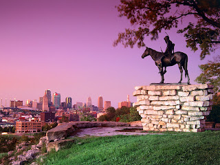 Scout Sculpture, Kansas City, Missouri Landmarks Stock Images