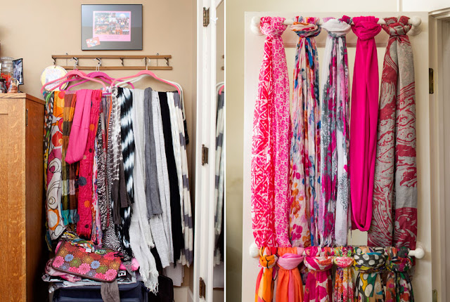 11 Ways to Organized with Towel Rods -- for organizing scarfs:: OrganizingMadeFun.com