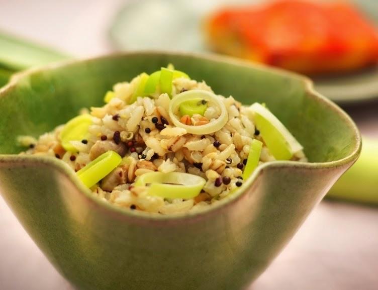 Arroz Sete Cereais com Alho-Poró (vegana)