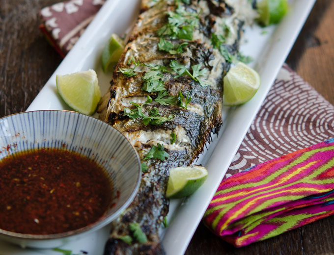 Grilled Fish with Soy Lime Chili Sauce   Korean Recipes