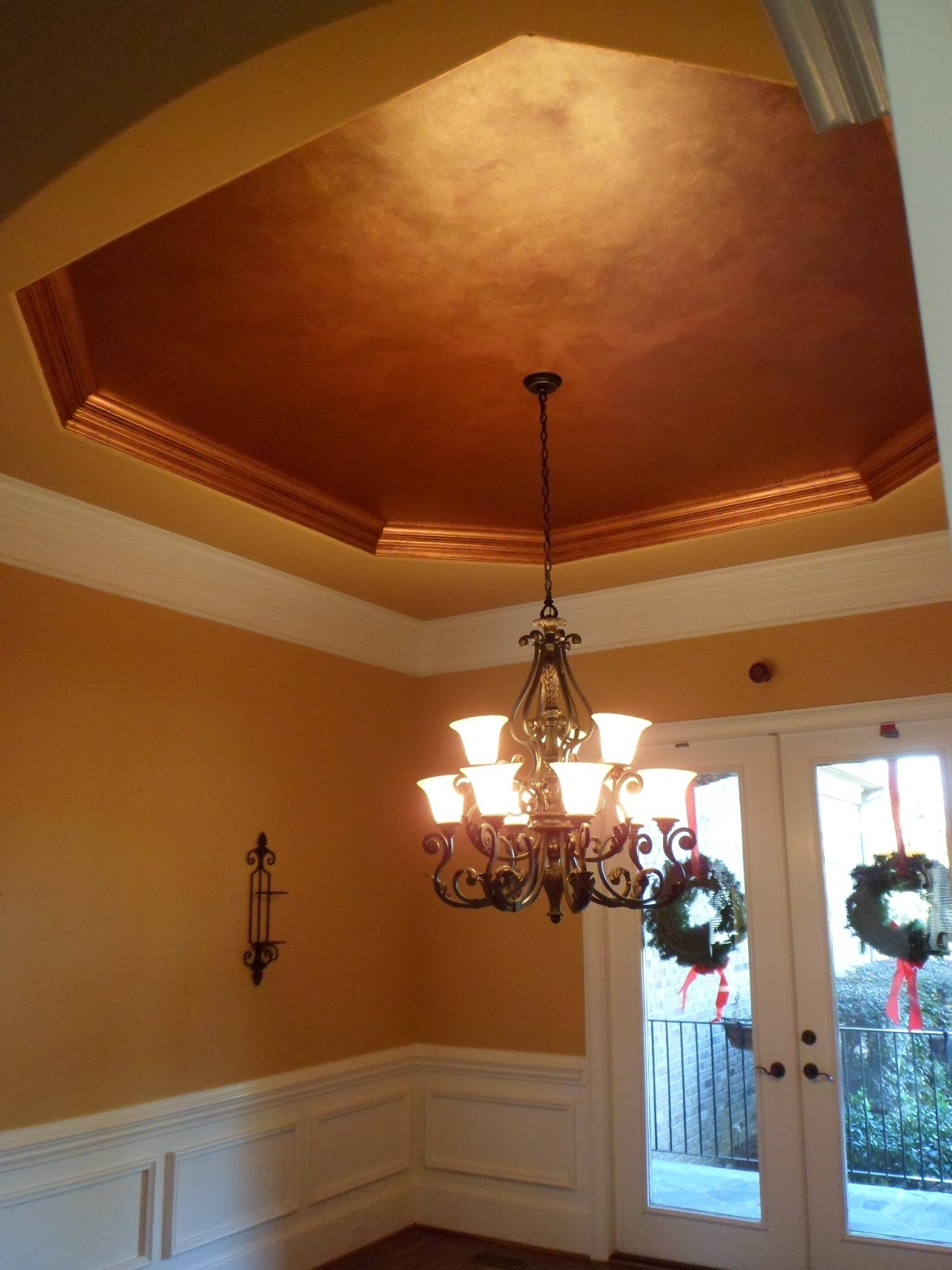 Savard studios dramatic dining room and foyer ceiling for Painting on ceiling