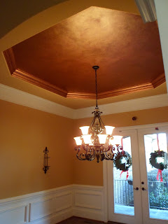 metallic tray ceiling, dining ceiling, copper leafed trim