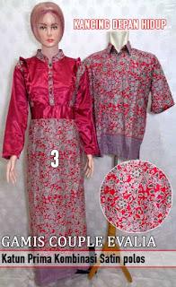 Gamis batik couple kombinasi model terbaru edisi hari raya