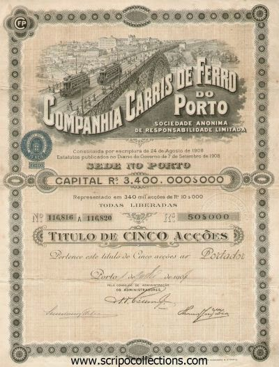 Companhia Carris de Ferro do Porto share certificate depicting bridge built by Eiffell