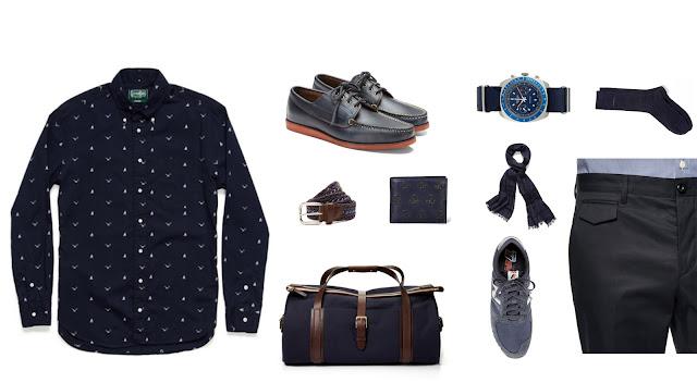 Exemplo de look masculino usando roupas azul escuro