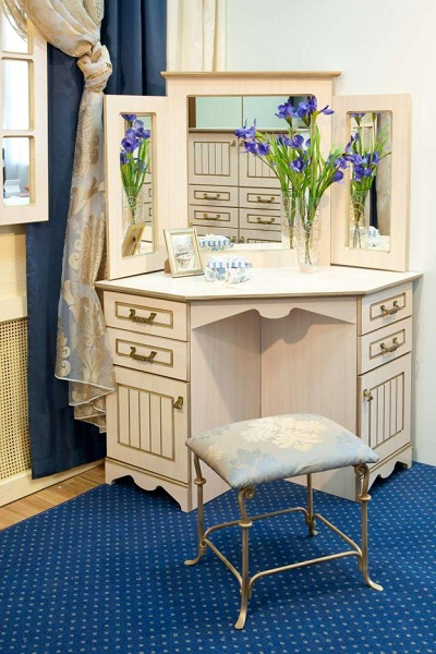 luxury small corner dressing table designs with angular mirror for classic bedrooms