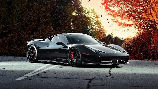 Ferrari 458 Italia black car at autumn HD Wallpaper