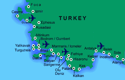 Map of Turkey resorts in southwestern Turkey