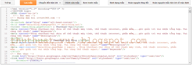 Làm quen với Template - mẫu thiết kế trong Blogger