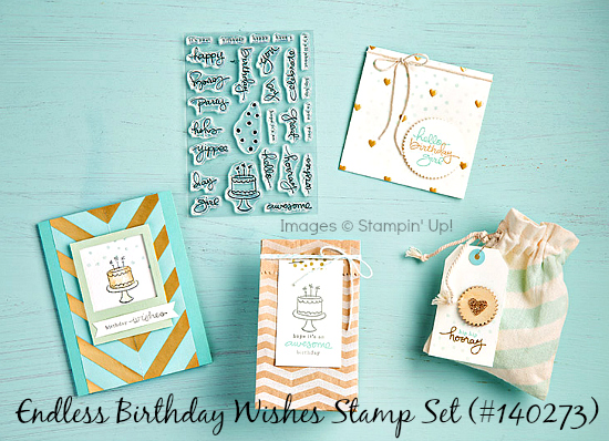 Stampin' Up! Endless Birthday Wishes stamp set artwork and sample projects.