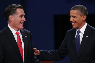 Mitt Romney & President Barack Obama after their first Presidential debate