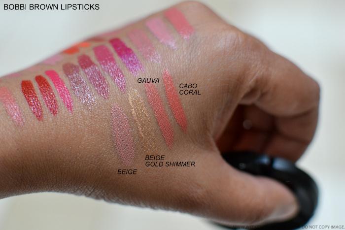 Bobbi Brown Best Lipsticks Swatches - Beige Cabo Coral Gold Shimmer