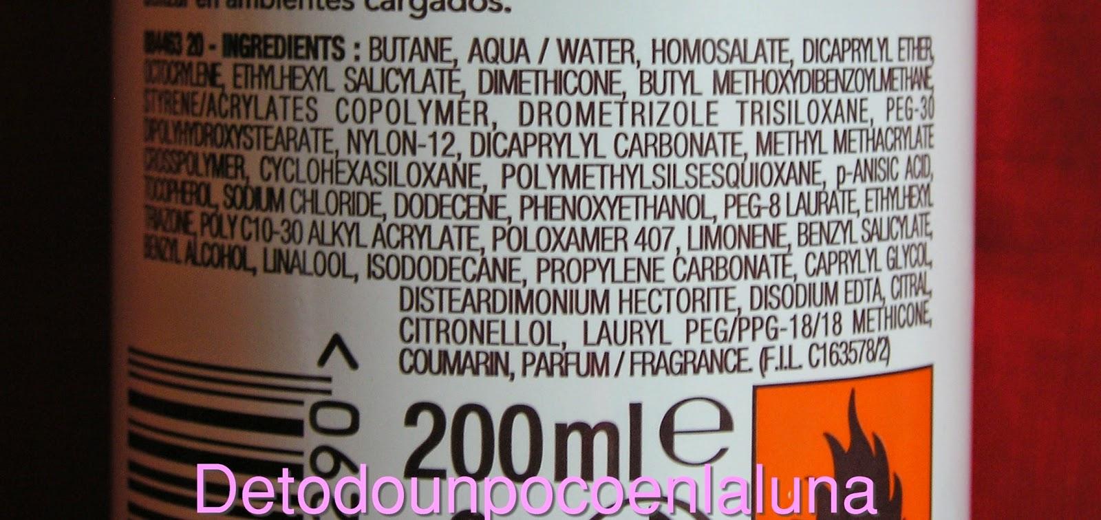 Ingredientes bruma seca garnier delial