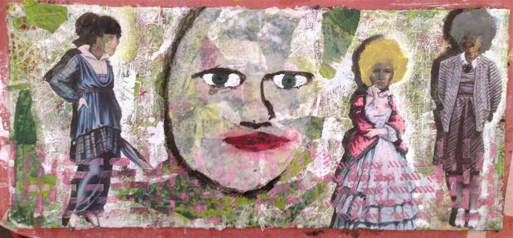 Collage made using gel medium transfers