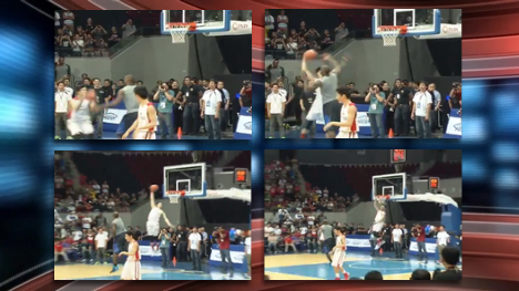 Kobe Paras dunks over LeBron James