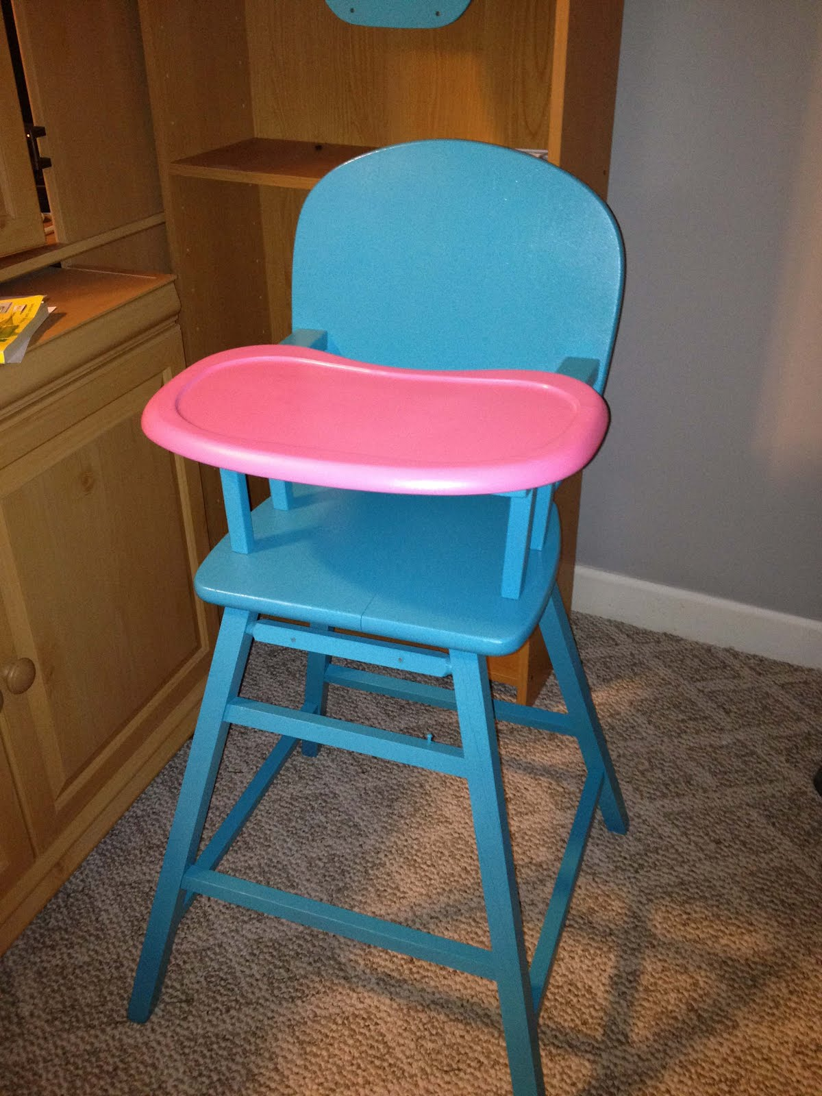 Painted wooden high chair - Painted Wooden High Chair I Started Out By Painting All Of It Turquoise And Decided