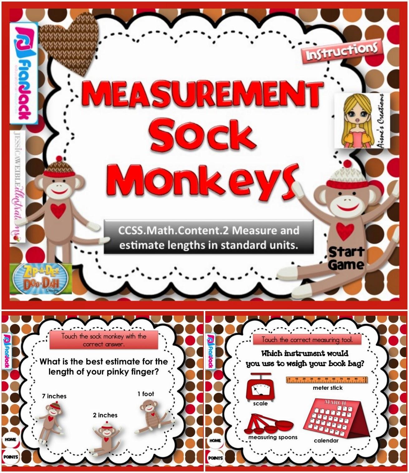 http://www.teacherspayteachers.com/Product/Measurement-Sock-Monkeys-Smart-Board-Game-CCSS2NBTMD2-1232791