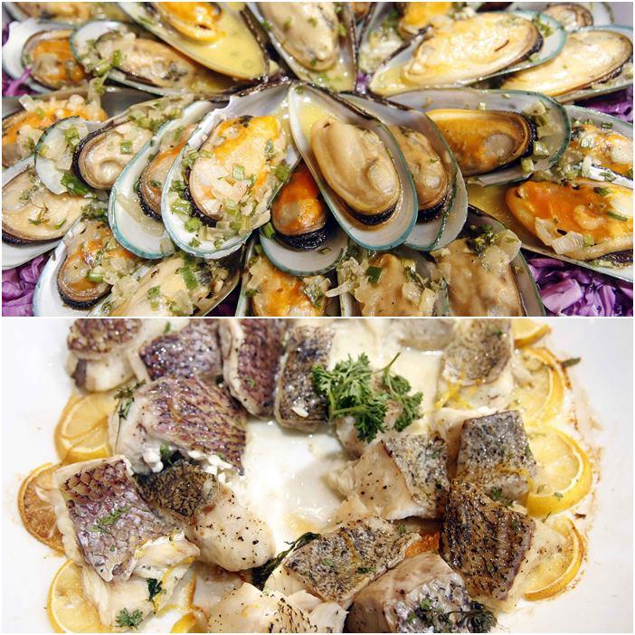 Pepata di Cozze and Pesce al Cartoccio