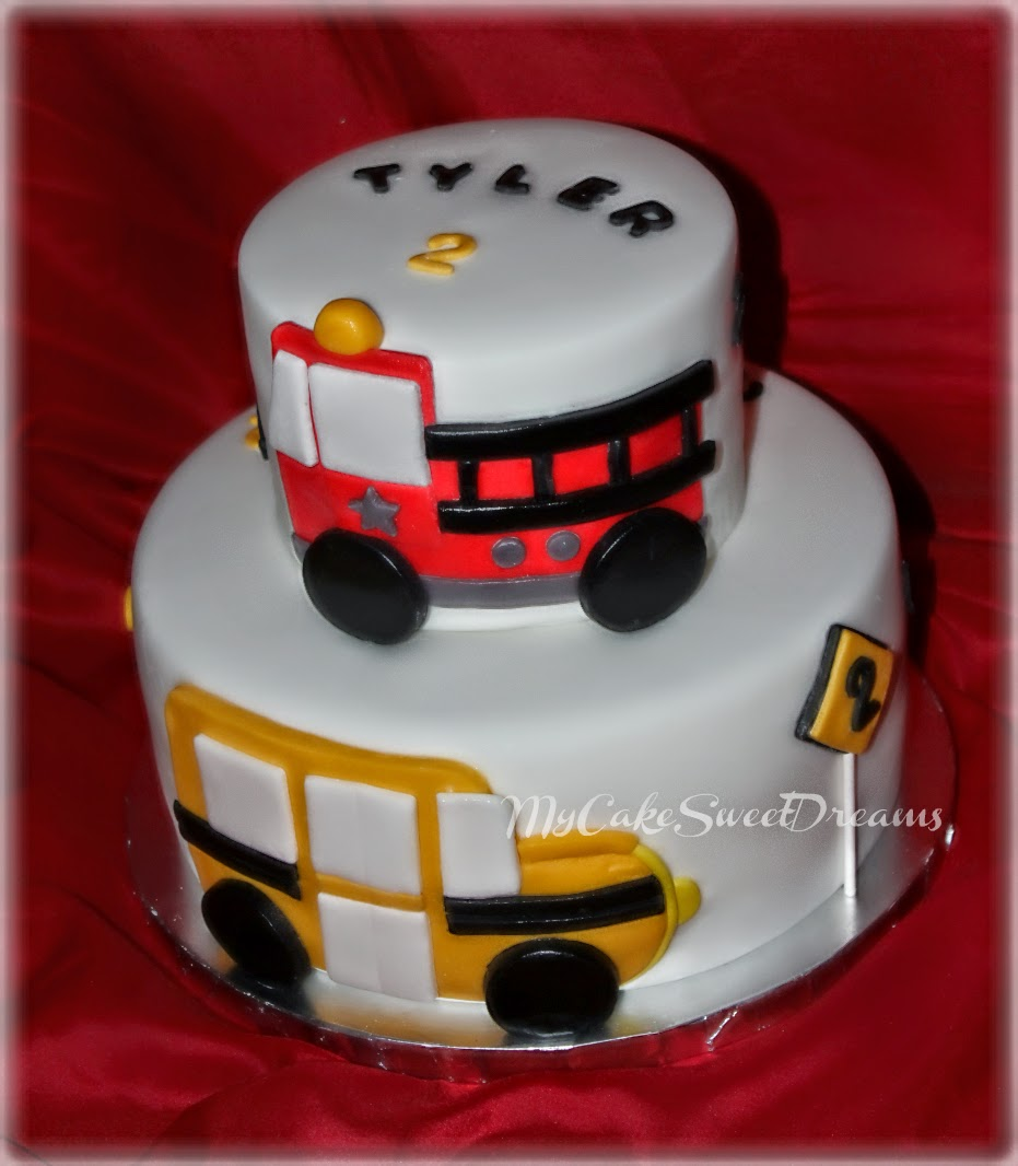My Cake Sweet Dreams Fireman And School Bus Birthday Cake