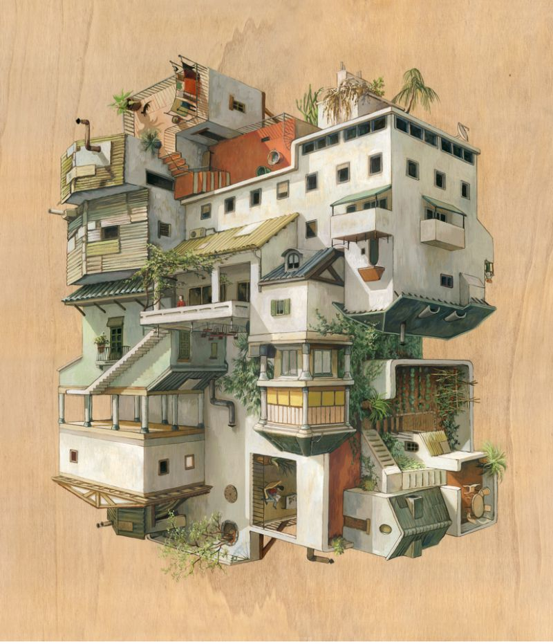 04-Barriada-Cinta Vidal Agulló-Multi-directional-Surreal-Architecture-Drawings-and-Paintings-www-designstack-co