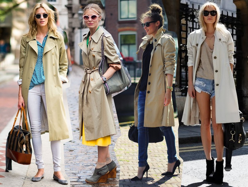 trench coat trend spring 2014 outfits fashion blog bloggers wearing beige trench coats street style streetstyle